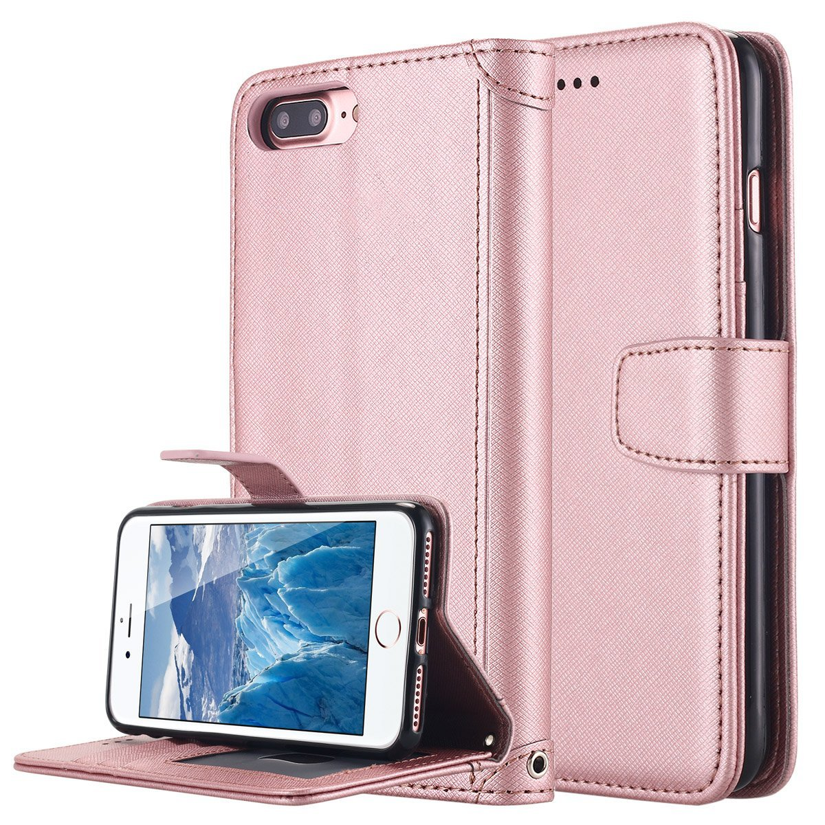 iPhone 7 Plus Case, LONTECT Premium PU Leather Wallet Case Folio Flip Stand Cover with Card slots Magnetic Closure Hand Strap for Apple iPhone 7 Plus - Rose Gold