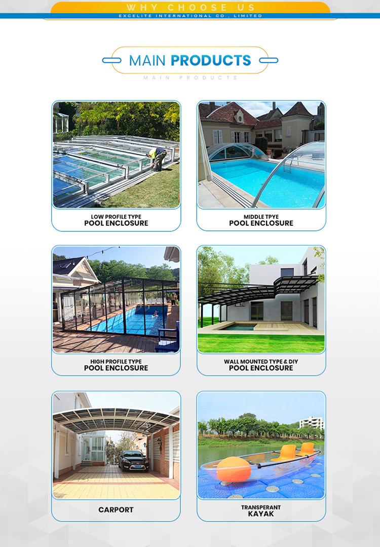 शीर्ष गुणवत्ता पीसी स्विमिंग पूल कवर/सुरक्षा पूल घर बाड़ों के लिए आकार 5.578 m * 10.8 m