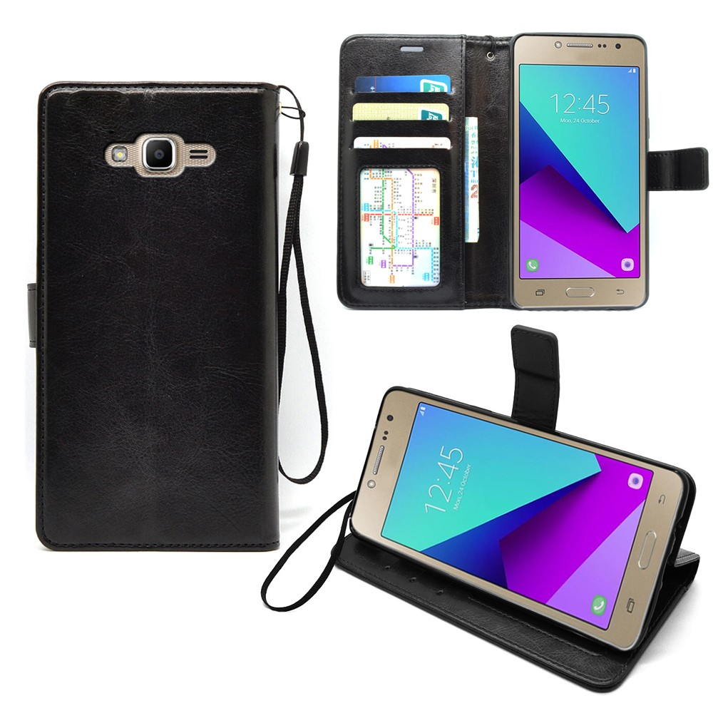For Samsung Galaxy J2 Prime Case Black Flip Leather Wallet