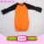 Orange body black sleeve gown baby sleeping ruffle raglan toddler gowns