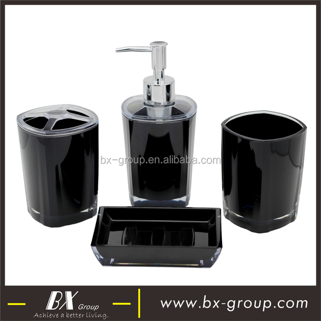 4 pcs black modern plastic bathroom accessory set in low price