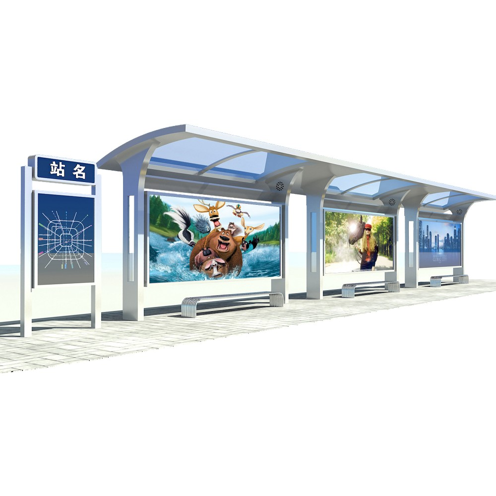 product-YEROO-2020 Customized stainless steel bus shelter advertising bus stop-img