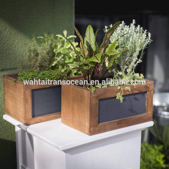 Windowsill Flower Pots Set of 2 Country Rustic Brown Wood Succulent Planters