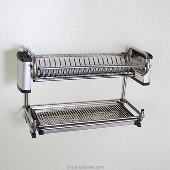 Rust Free Stainless Steel Kitchen Accessory Dish Drying Rack On Wall