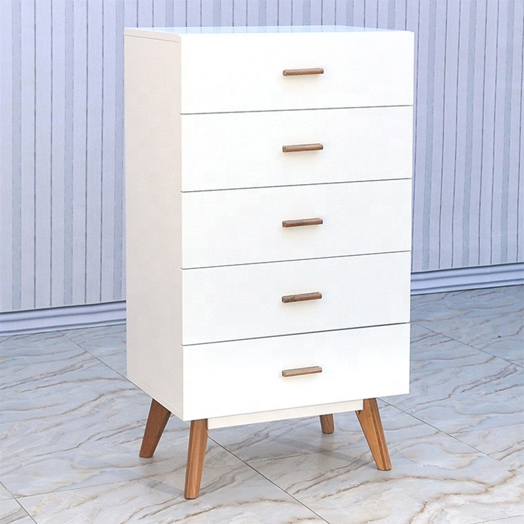 Scandinavian design wooden storage cabinet sideboard with 5 drawers