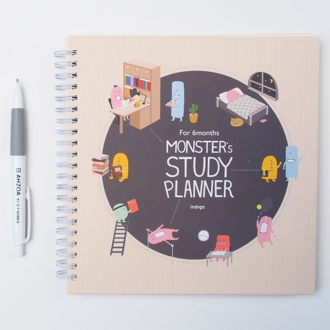 Monster's Study Planner for 6 Months including AHZOA Pencil and AHZOA 5 Colors post-it flags and English Translation Paper about Korean Subtitles (Beige)