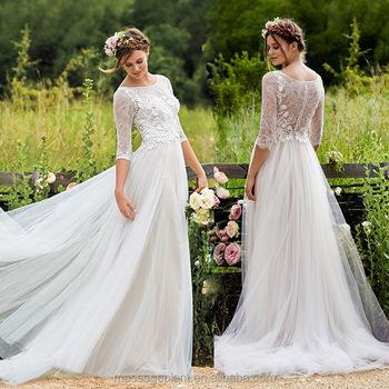 f4bda41986056 Boho Robe De Mariée En Dentelle Blanche Simple Manche Longue Robe De Mariée