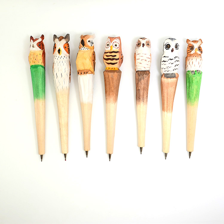 factory stock owl design wood carving <strong>crafts</strong> for ballpen hot sale