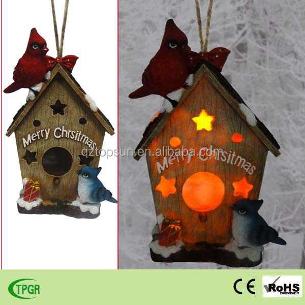 Hot Sale Polyresin Squirrel Bird House Solar Light For Christmas Decoration  Garden Led Lights - Buy Bird House,Christmas Light,Garden Led Lights