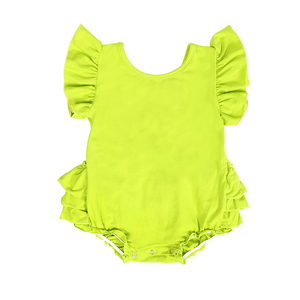 lime green short sleeve ruffle plain girl boutique bubble romper