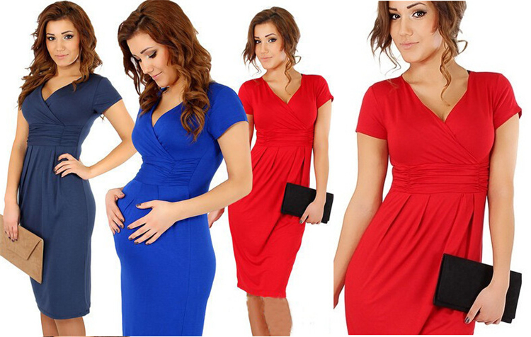 Western style solid color elastic comfortable soft women maternity clothing pregnant dress