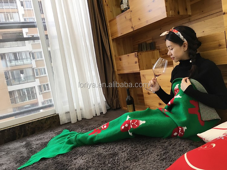 New popular christmas blanket handmade knit mermaid wholesale tail blanket for adults and kids