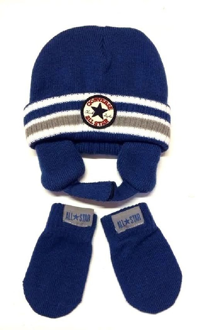 9c8efe5133c Get Quotations · Converse Baby Boy s 12 24M Knit Beanie Hat   Mittens Set  Blue