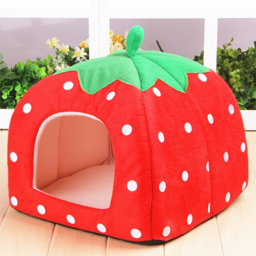 2017 Newst Strawberry Shaped Foldable Short Plush Pet House Nest for dog/cat with cheap price