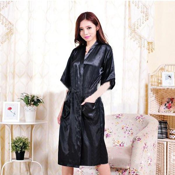 b7e700d2de Get Quotations · 2015 New Arrival Robes Women Sexy Black Satin Kimono  Dressing Gowns For Women 2015 Hot Sale