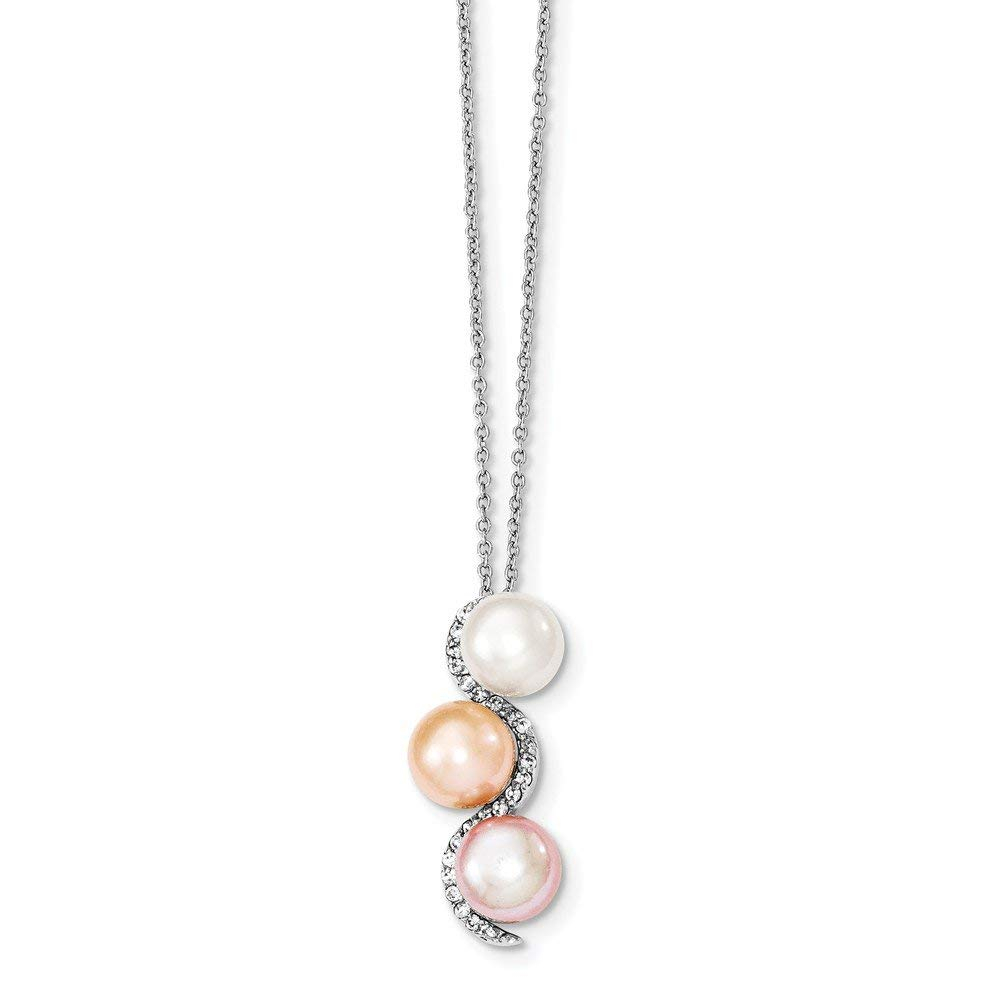 Best Designer Jewelry Sterling Silver Rhodium 8-9mm Multi-color FWC Pearl and CZ Necklace