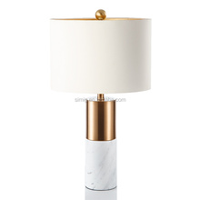 Modern American luxury minimalist jazz white marble decorative copper table lamp for Chinese-style living room study bedroom