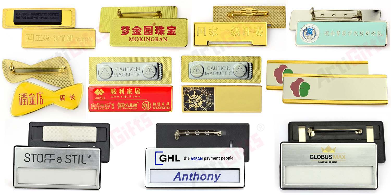 Hot sale magnetic badge and engraved metal name plates for handbags