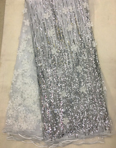 2018 high quality dress fabric Silver color/ 3d french tulle lace with sequins J894-8