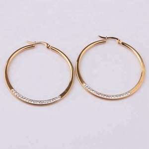 good quality gold plating stainless steel cristal paved circle earring