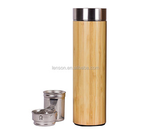 Hot Sale BPA Free Bamboo Tea Tumbler Flask Infuser Stainless Steel Bamboo Thermos For Tea Lovers