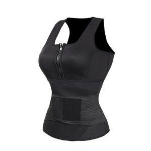 Hot Women Sauna Waist Trimmer Tops Sport Neoprene Sweat Vest With Zipper