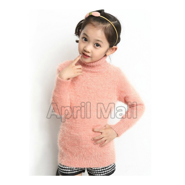 2014 1 Piece Autumn Winter Children Clothing Girls Turtleneck Sweater Bottoming Mohair Soft Knitted