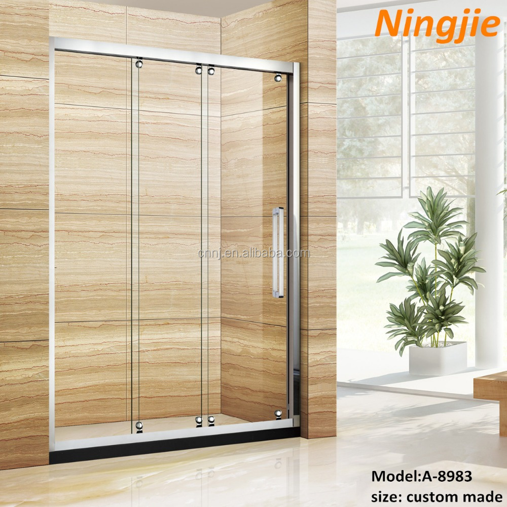 Best sliding shower doors semi frameless glass shower for Three panel sliding glass door