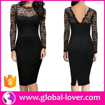 134ab58888053 black smart elegant long sleeve midi bodycon evening dresses for women