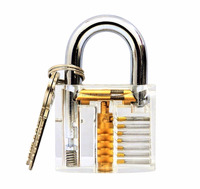 Lock Pick Set Locksmith Tools For Practice Transparent Cutaway Crystal Pin Tumbler Keyed Padlock