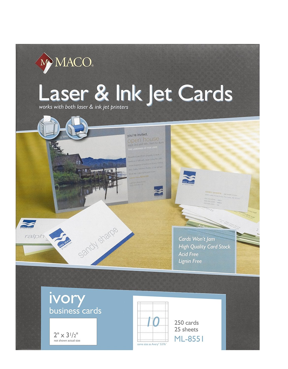 Buy MACO Laser/Ink Jet Ivory Business Cards, 2 x 3-1/2 Inches, 10 ...