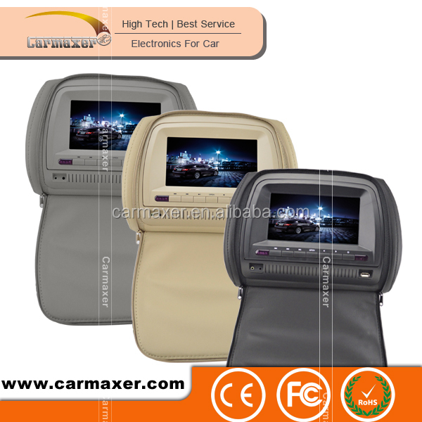2016 Hot selling 9/10.1 inch car led color display headrest dvd player