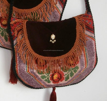 Gorgeous messenger bag made of vintage Romanian Gobelin silk embroidery, bronze fringes, velvet handmade gipsy bag, hippie cross