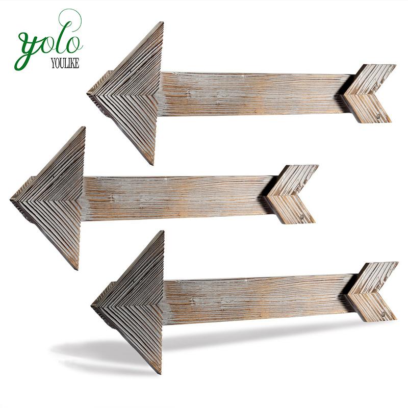 Forma de seta de madeira Celeiro Rústico Parede Sinais Decorativos para o Quarto ou de Casamento