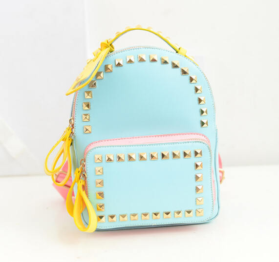 Korean Fashion 2015 Rivet Backpack Colorful Women Leather Backpack School Bags For Teenager Girls mochila feminina A776