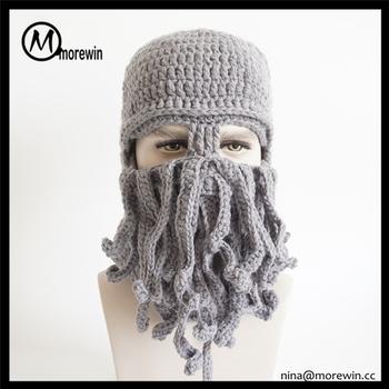 Morewin Brand Custom Winter Creative Warm Octopus Wool Hat Big Beard