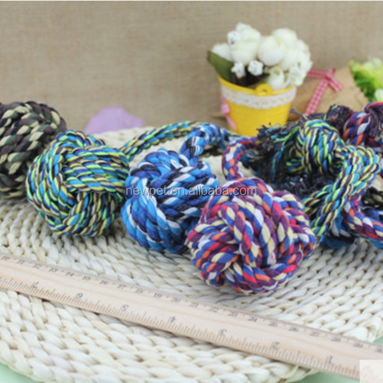 Most popular new import cotton knotted braided rope ball dog training toy
