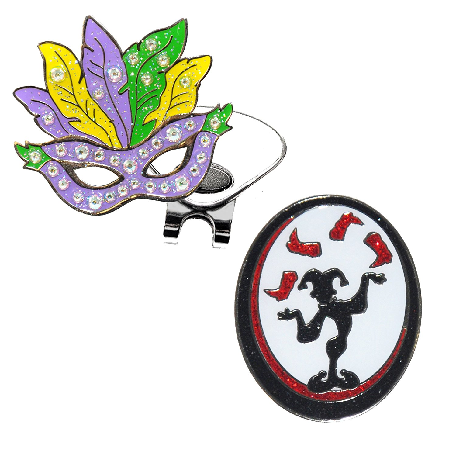Navika Mardi Gras Mask Crystal Ball Marker Accented By Genuine Swarovski Crystals and GLITZY Juggler Ball Marker with ONE Magnetic Hat Clip