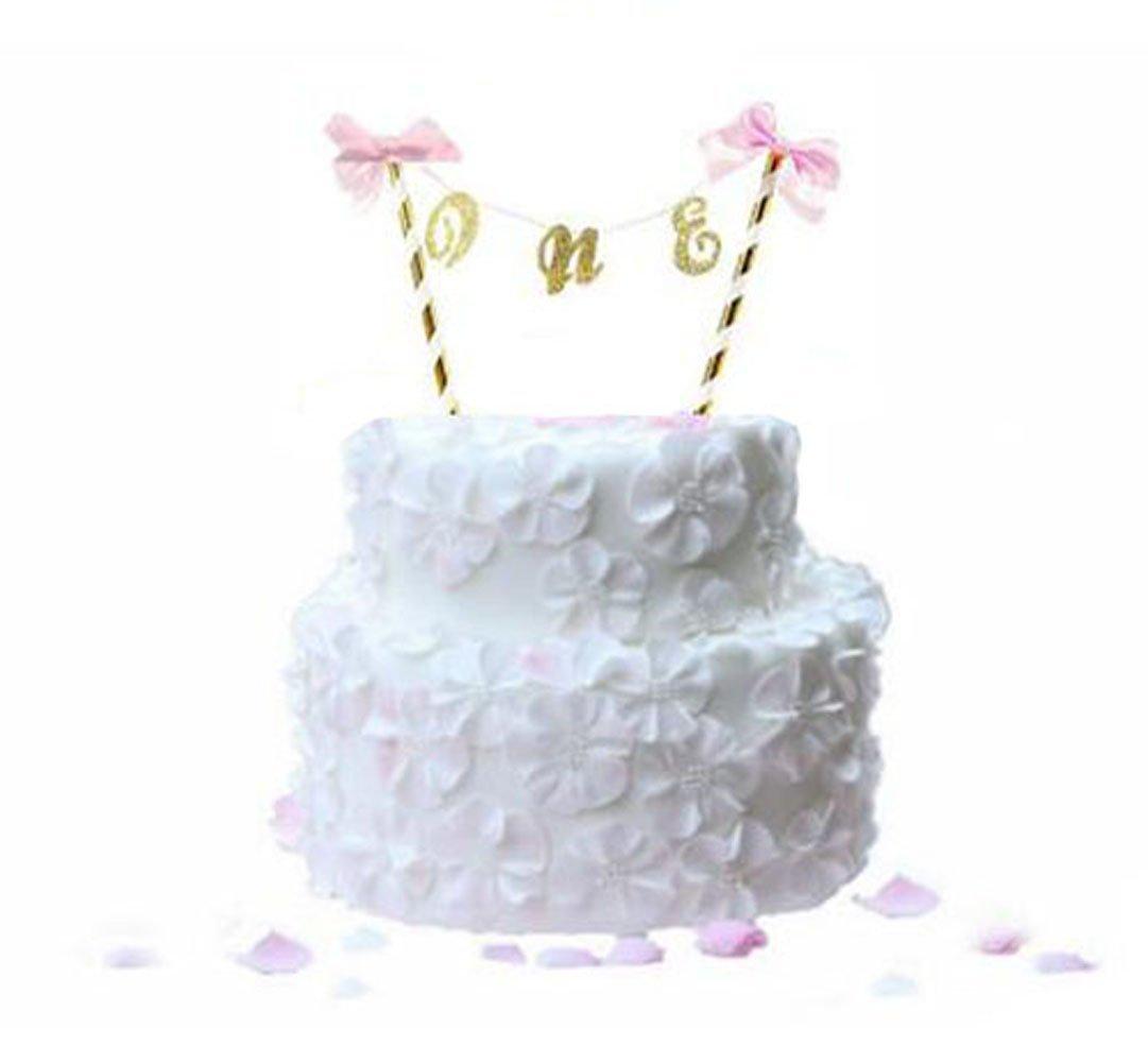Buy Handmade Lovely Gold Glitter One Cake Topper Cake Bunting Banner