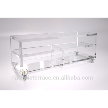 Clear Acrylic TV Screen Display Unit Or Console Table With Extra Shelving,  On Lockable Casters Part 65