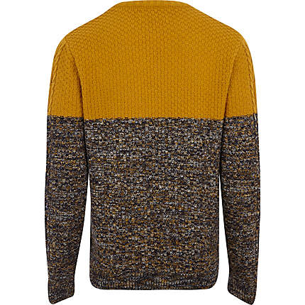 Men's Mustard Cable Knit Color Block Sweater