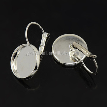 14mm Round Bezels Blanks Br Silver French Leverback Earrings Findings