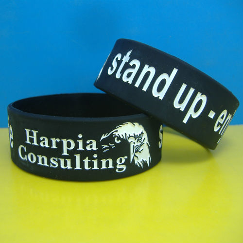 Colorful Debossed color filled 1 inch silicone wristband