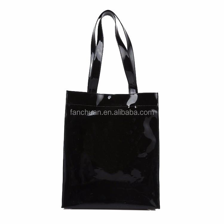 b6347788a2a8 Black Wholesale Zipper Pvc Vinyl Tote Shopping Bag - Buy Vinyl Bag ...