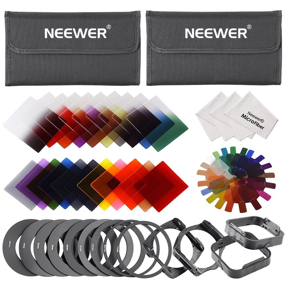 Neewer® 22 Pieces Square Filter Kit for Cokin P Series including: (16)Full & Graduated Color Filters(Blue/Orange/Brown/Pink/Red/Green/Yellow/Purple/G.Blue/G.Orange/G.Brown/G.Pink/G.Red/G.Green/G.Yellow/G.Purple) + (6)Full & Graduated ND Filters(ND2/ND4/ND8/G.ND2/G.ND4/G.ND8) + (9)Adapter