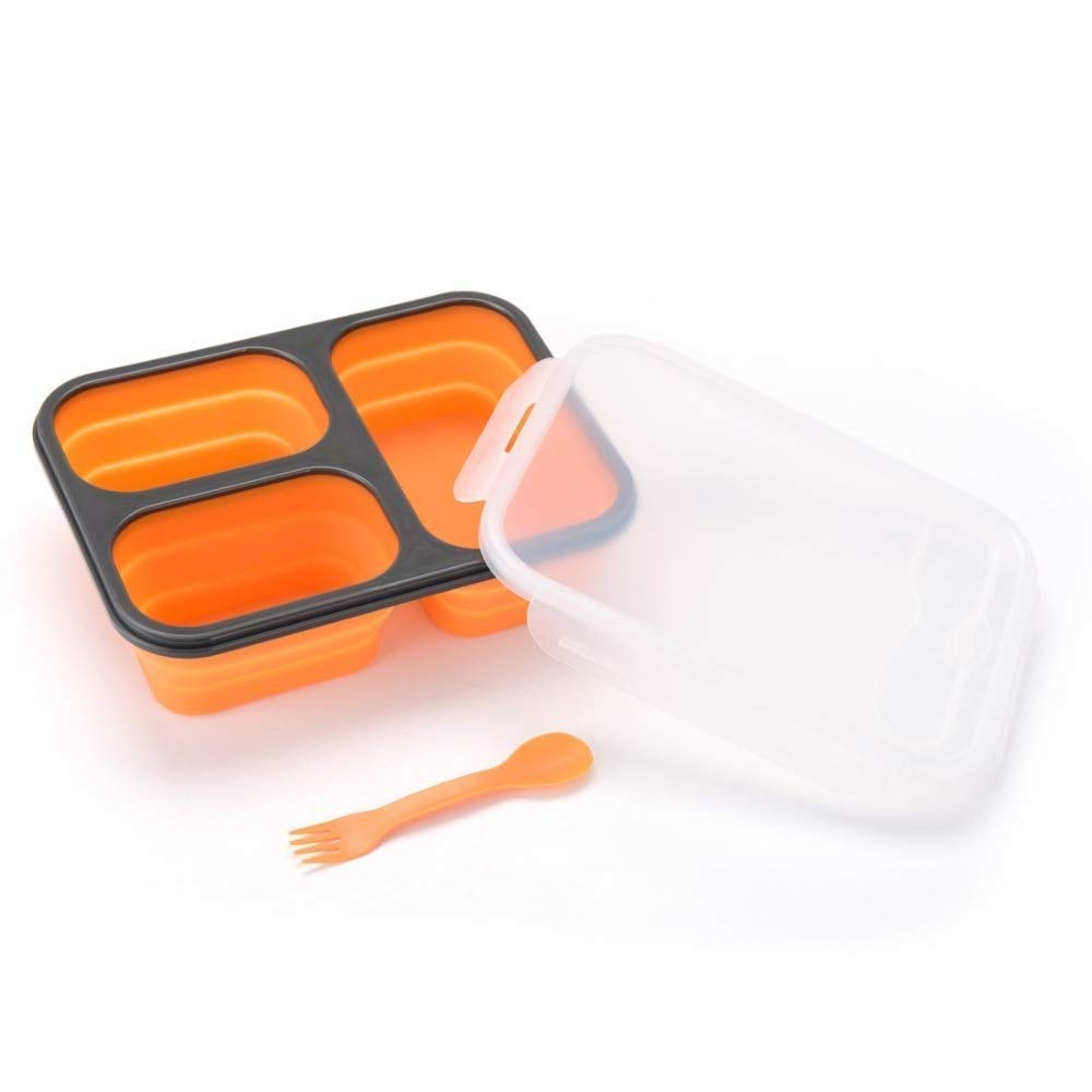 Hot selling food grade foldable silicone bento lunch box for kids