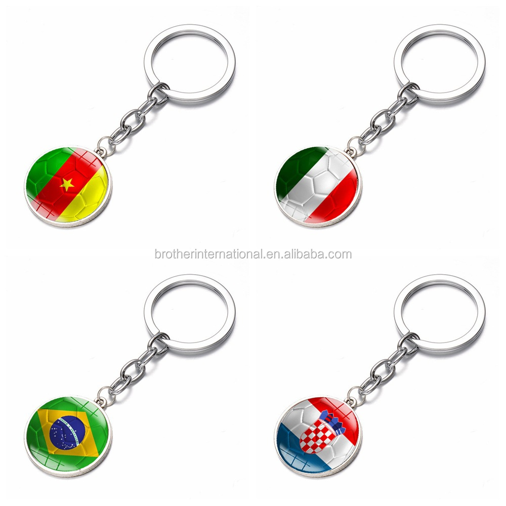 High quality metal soccer key ring Brazil senegal croatia italy souvenir country flag keychain