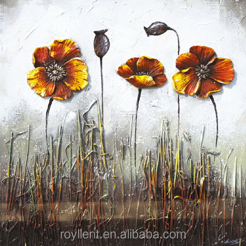Single Panel Retro Orange Flower 3D Sculpture Handmade Painting on Canvas Home decor Arts and Crafts Squre Size RA0251