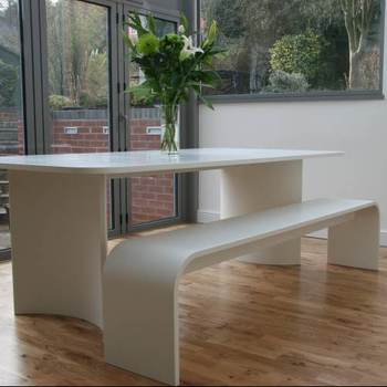 2 2m Long Arc White Smooth Stone Dining Table Bench Seat Chair Product On Alibaba