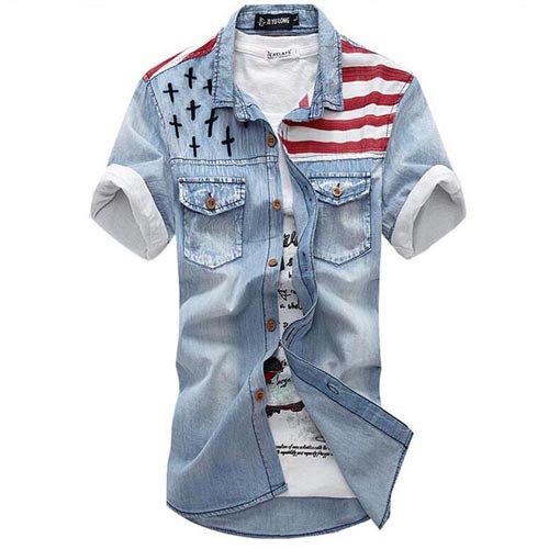595aa5a6e15 Buy Men Shirt 2015 Brand Denim Shirt Men Chemise Homme Casual Shirts Short  Sleeve Fashion Slim Fit Mens Jeans Shirts Camisa 1702 in Cheap Price on ...